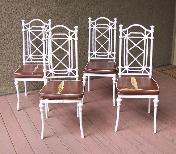 Chinoiserie Chairs 4 Faux Bamboo Cast Metal Dining Or Patio