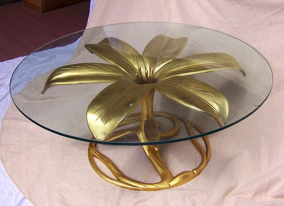 "Hollywood Regency table gilt flower sculpture 36"" modernist Art Nouveau coffee sofa cocktail end table"