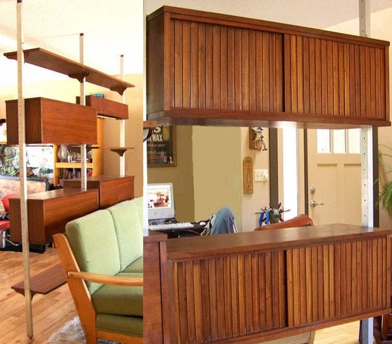 RESERVED for Nikki Kohut   .....................  Mid century wall unit room divider walnut and steel