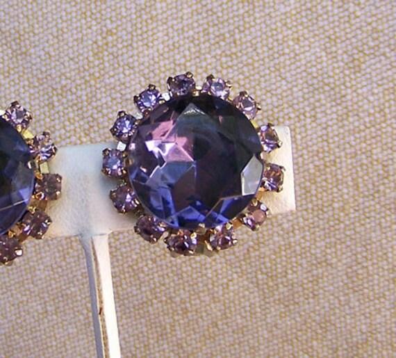 Vintage amethyst earrings 1950s huge rhinestones clip on
