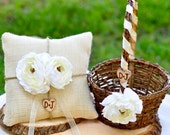 SET of 2 baskets and one pillow Flower Girl Basket Shabby Chic style and Ring Bearer Pillow Personalized SET  You pick flower and ribbon