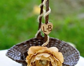 Set of 2 Small Flower girl basket with hemp and  silk flowers you pick flower