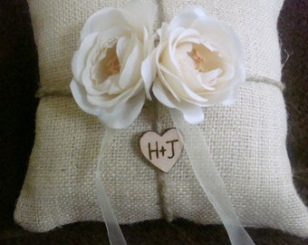 You pick the flower Personalized  ring bearer pillow with hemp with silk  flowers with initials in heart you pick the flower