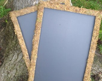 Chalkboard Frame Signs 11x17 Decorated with Moss set of 2 Perfect for a Wedding Decoration
