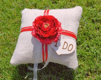 Burlap Ring Bearer Pillow with engraved heart you pick  ribbon and flower