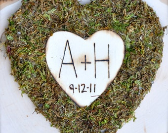 Wedding Heart covered in Moss with your initals and wedding/anniversary date