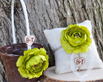 Personalized Small Brown or white Flower Girl Basket and Ring Bearer Pillow SET  You Pick Flower