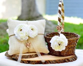 Flower Girl Basket Shabby Chic style and Ring Bearer Pillow Personalized SET  You pick flower and ribbon