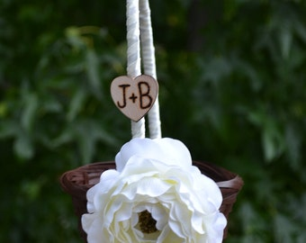 Set of 2 Personalized  Small Flower Girl Baskets You Pick Flower and Ribbon