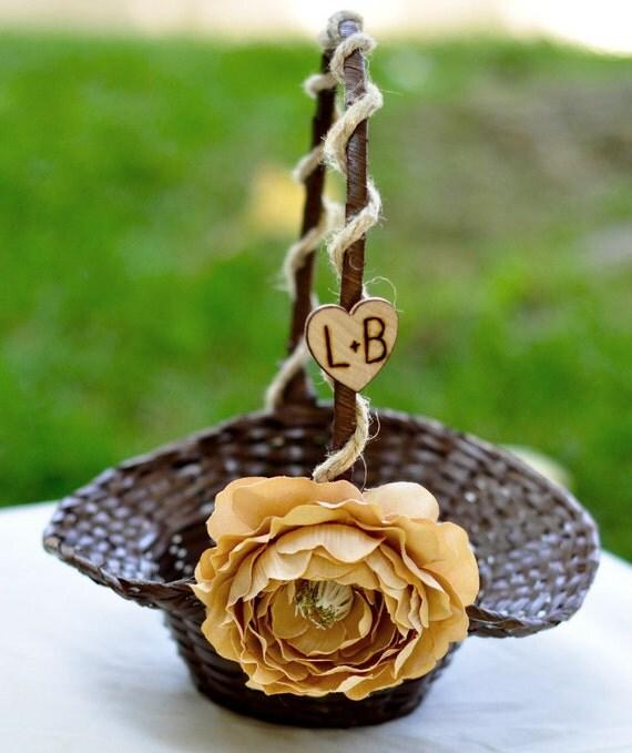 Medium Flower girl basket with hemp and  silk flowers you pick flower