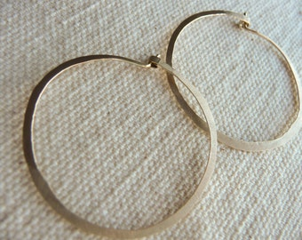 Hammered Gold Hoop Earrings - 14 Karat Gold Filled Hoops - Simple Delicate Gold Hoops - Sterling Silver Hammered Hoops