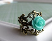 Turquoise and antique bronze ring - adjustable