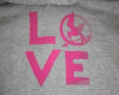THE HUNGER GAMES inspired Love Hooded Sweatshirt, Gray and Faded Pink size M