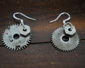 Silver Gear Steampunk Earrings