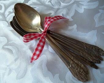 Sugar Spoons 7 Evening Star Pattern  Oneida, Community Silverplate