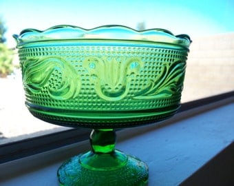Vintage Green EO Brody Co Ohio Glass Footed Compote Bowl