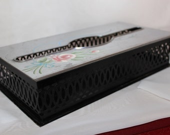 Vintage Metal Tissue Holder Box With Flower Design