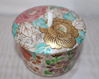 Hand Painted Asian Jar With Lid
