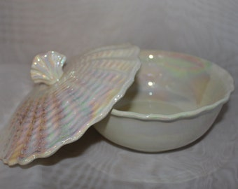 Vintage California Pottery irredescent color in a sea shell design.