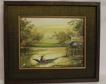 Vintage Painting from Thailand River Scene
