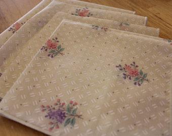 Four Spring Flowers Cloth Napkins