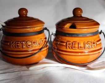 Condiment Bean Pot Jars Ketchup And Relish