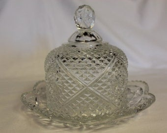 Avon Pressed Glass Butter Dish