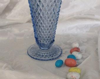 Indiana Glass Diamond Point Blue Vase