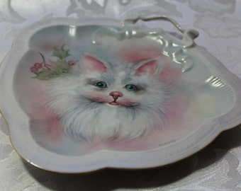 Vintage Hand painted Kitten Artist Signed Pin Tray