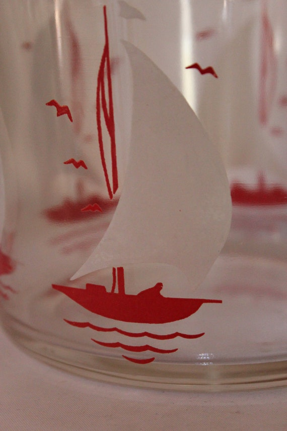 Vintage Glass Bowl With Red Sailboats