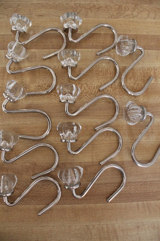 Vintage Glass Shower Curtain Hooks