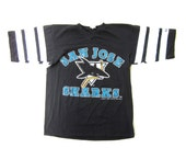Free Shipping - Vintage 90s San Jose Sharks Throwback Shirt Size Small