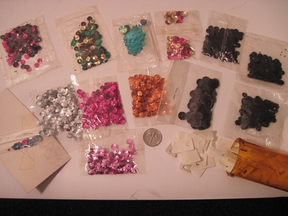 Vintage Lot of over 2000 Mixed Colors Sequins  New in bag