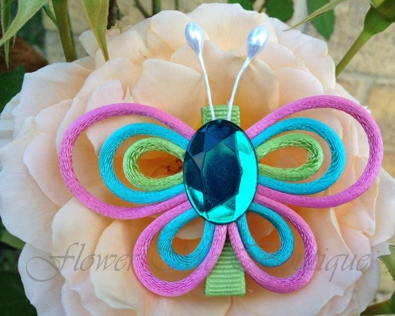 Butterfly clip, pink, turquoise, apple green, Hair Clips, Hair Bows, Headbands, Flower girl Hair, Easter, Spring, Baby Toddler, Baby Fashion