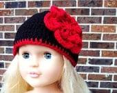 Red cherry  & black baby hat size 0-3 months