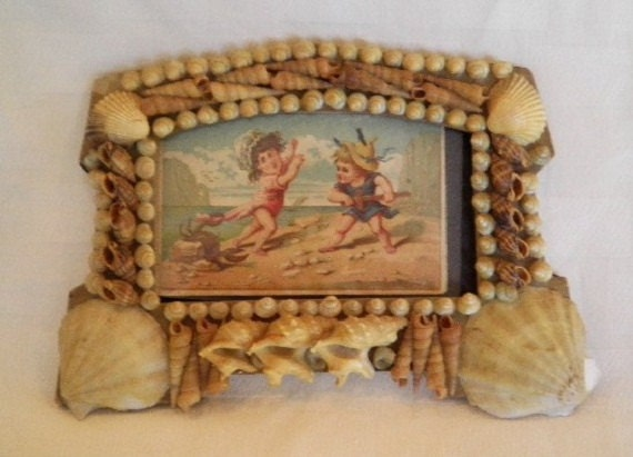 Victorian Shell Art Sailor's Valentine Antique Frame with Beach Postcard