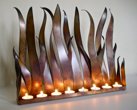 Metal Candle Holder Tabletop Sculpture Fireplace Insert