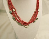 Five Strand Red-Orange Necklace with Silver Accent