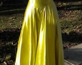 Vintage 1930s Yellow Chartreuse Satin Hollywood Glamour Gown