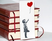Valentine's Day bookmark. Girl with a heart shaped balloon bookmark, Banksy bookmark, typeface.