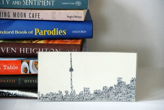 Toronto skyline bookmark. laminated city skyline page marker. Typewritten Toronto silhouette