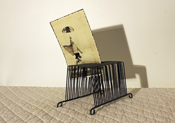 Vintage Industrial Wire Mail Sorter - Office Organizer - Files - Photos