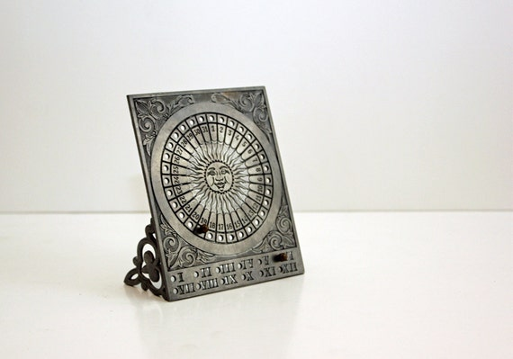 Vintage Pewter Perpetual Calendar with Sun and Astrological Signs - Made in Italy