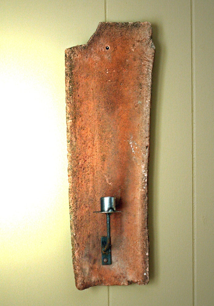 Primitive Antique Upcycled Roof Tile Candle Sconce Rustic