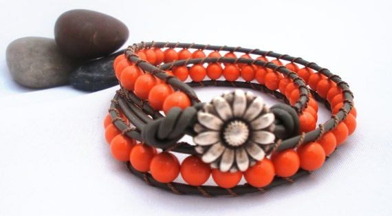 The Coral Beach Leather Wrap Bracelet