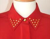 RESERVED for KITTENPAW reworked vintage gold studded collar viyella red blouse oversized size medium large UK 14 16 18