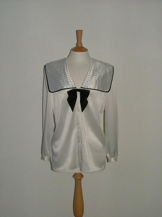 Vintage Frank Usher sailor collar bow nautical blouse shirt size medium