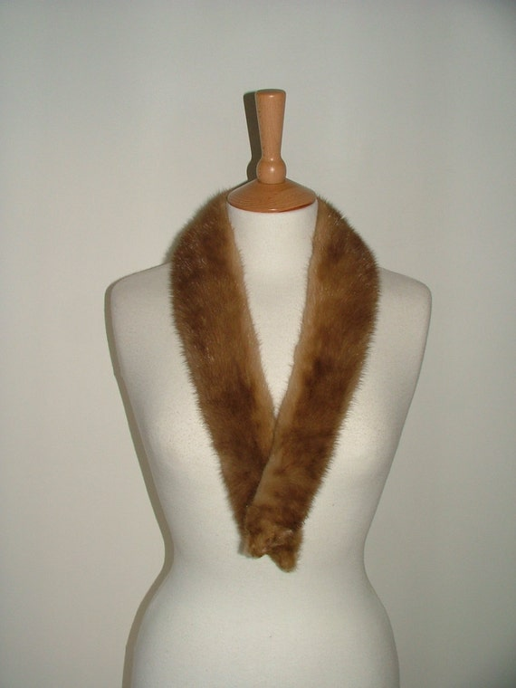 Vintage 50s real dark honey blonde pastel real mink pelt fur scarf collar