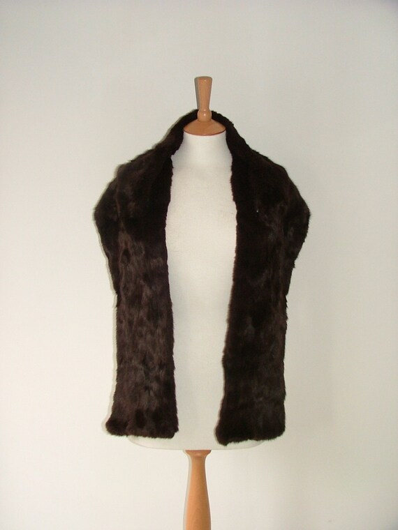 Vintage 50s real chocolate brown mink beaver pelt fur luxury stole scarf wrap