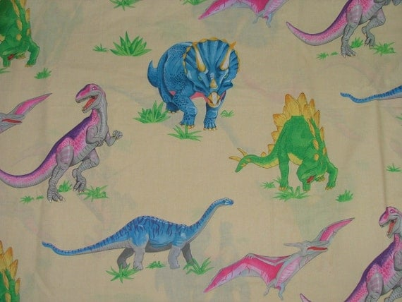 Vintage dinosaur trex fabric cream cotton fabric 2 metres for Grey dinosaur fabric